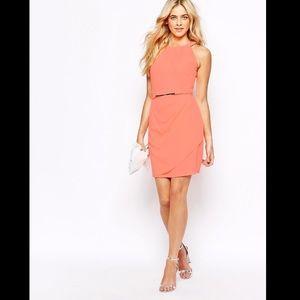 🌙 ASOS Oasis Embellished Trimmed Dress Neon Coral